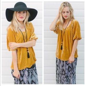 Sundance | Mustard Yellow Velvet Blouse Top Shirt